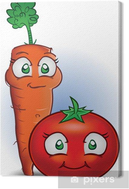 Cuadro En Lienzo Zanahoria Y Tomate Personajes De Dibujos Animados
