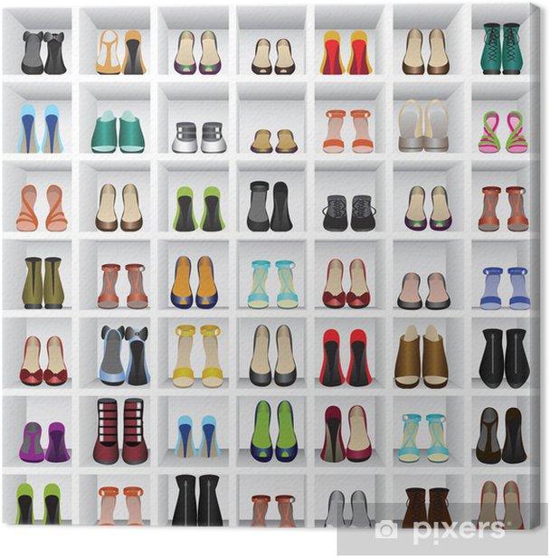 Cuadro en Lienzo Zapatos en estantes de tienda - Moda