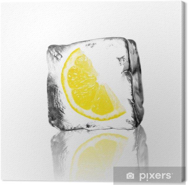 Cuadro en Lienzo Zitrone im Eisblock - Frutas