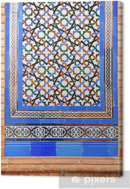 Cuadro en Lienzo Zócalo de azulejos, pilastra, arquitectura española - Europa