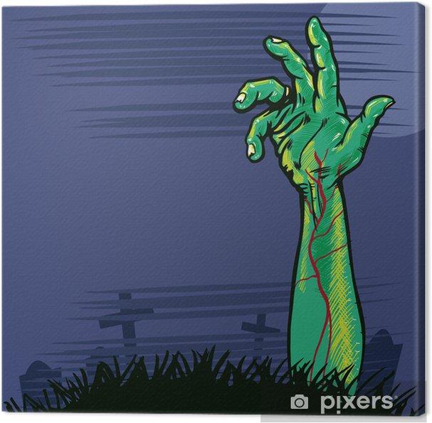 Cuadro en Lienzo Zombie mano saliendo de la ilustración suelo - Temas