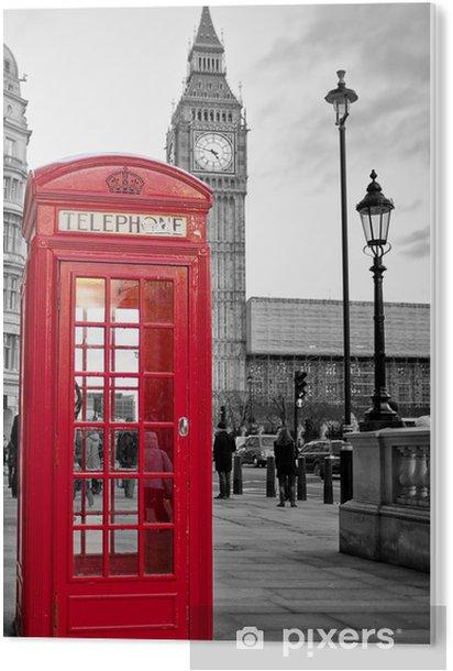 Cuadro en Metacrilato Cabina de teléfono roja en Londres con el Big Ben en blanco y negro -
