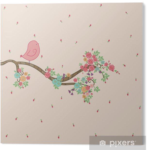 Cuadro en PVC Pájaro en rama floral - Para niña