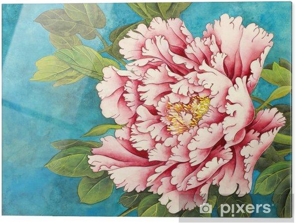 Cuadro en vidrio Peonía rosa sobre un fondo azul - Plantas y flores