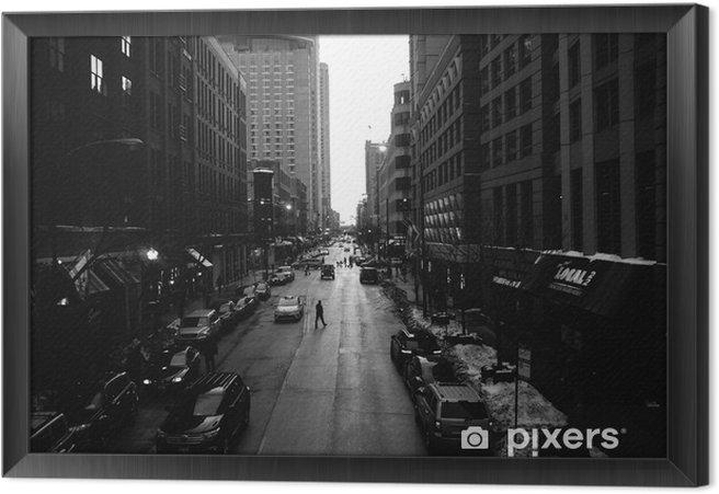 Cuadro Enmarcado Blanco calles de Chicago y negro - Construcciones y arquitectura