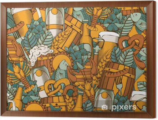 Cuadro Enmarcado Cerveza Seamless Pattern - Bebida
