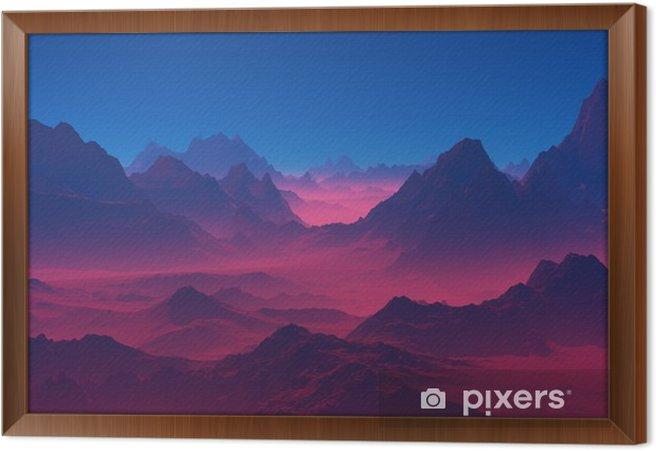 Cuadro Enmarcado Montañas en la puesta del sol - Paisajes