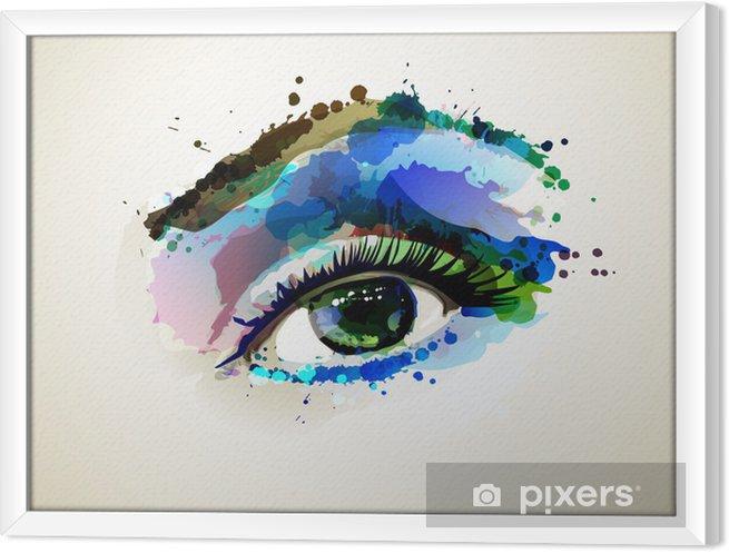 Cuadro Enmarcado Mujer hermosa de los ojos formando mediante transferencias - Temas