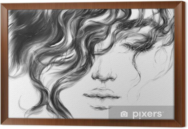 Cuadro Enmarcado Mujer joven. Ilustración de moda. - Gente