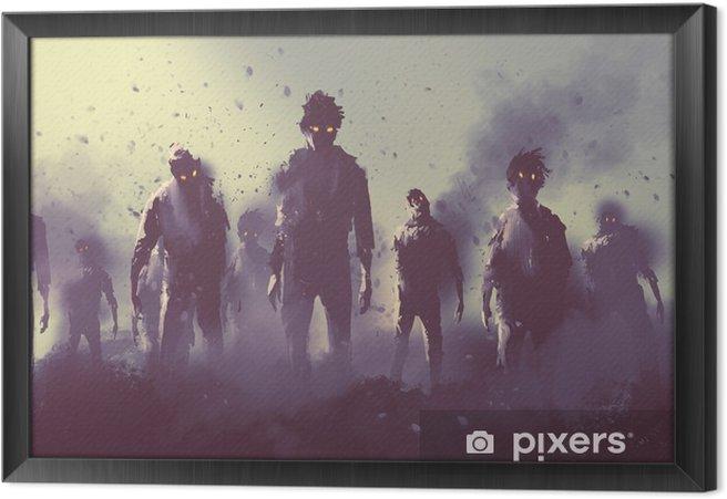 Cuadro Enmarcado Multitud de zombies caminando por la noche, el concepto de Halloween, pintura ilustración - Hobbies y entretenimiento