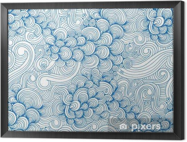 Cuadro Enmarcado Ondas y cáscaras modelo inconsútil ornamental del azul - Recursos gráficos