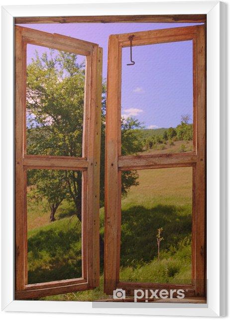 Cuadro Enmarcado Paisaje visto a través de una ventana - Temas