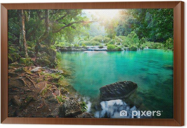 Cuadro Enmarcado Parque Nacional Cascadas en Guatemala Semuc Champey al atardecer. - Selva