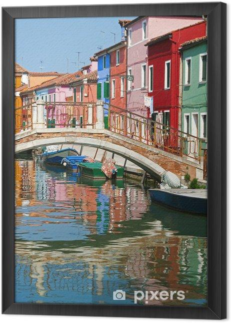 Cuadro Enmarcado Puente y casas de colores en Burano, Italia. - Ciudades europeas