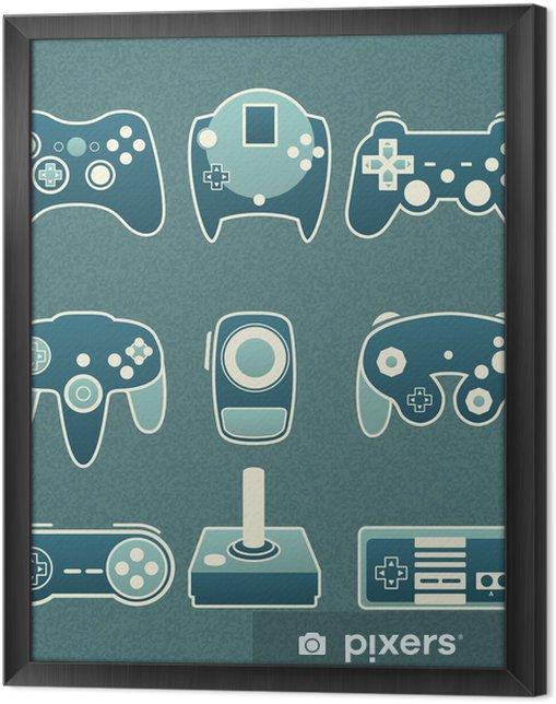 Cuadro Enmarcado Vector Set: Retro Video Game controles remotos - Vídeo