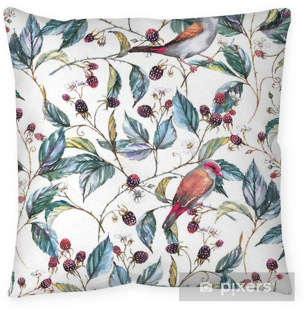 Cuscino decorativo Seamless acquerello disegnato a mano con motivi naturali: rami di more, foglie, bacche e uccelli selvatici - fringuelli. sfondo ripetuto, stampa per il tessile e sfondi - Piante & Fiori