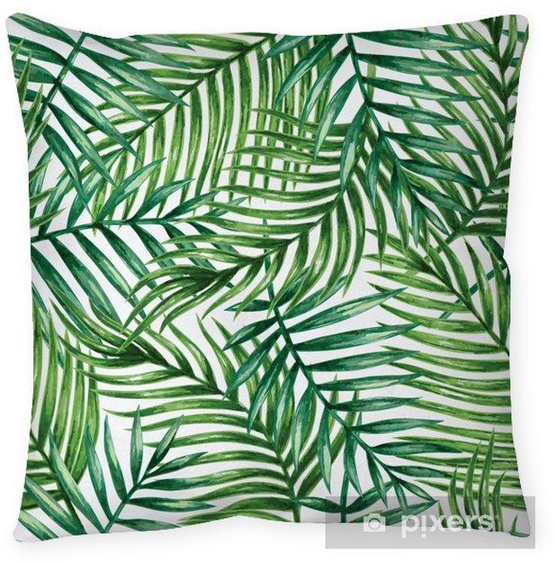 Cuscino decorativo Watercolor tropical palm leaves seamless pattern. Vector illustration. - Sfondi