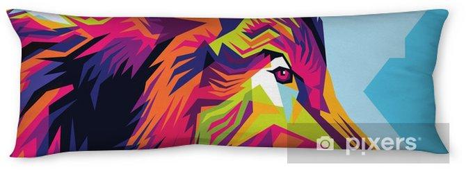 Cuscino oblungo Stile di illustrazione di lupo testa pop art - Animali