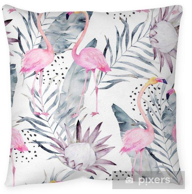 Decoratief sierkussen Abstract tropisch patroon met flamingo, protea, bladeren. aquarel naadloze print. minimalisme illustratie - Grafische Bronnen