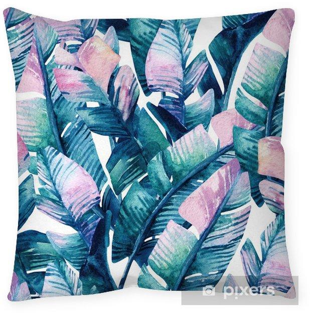 Decoratief sierkussen Aquarel bananenblad naadloze patroon. - Bloemen en Planten
