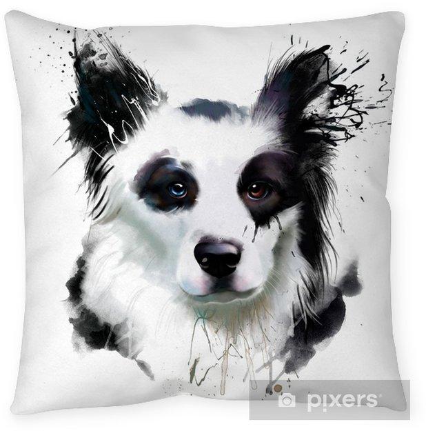 Decoratief sierkussen Aquarel hond portret van een border collie, close-up op een witte achtergrond, met elementen van druppels en verf spatten - Dieren