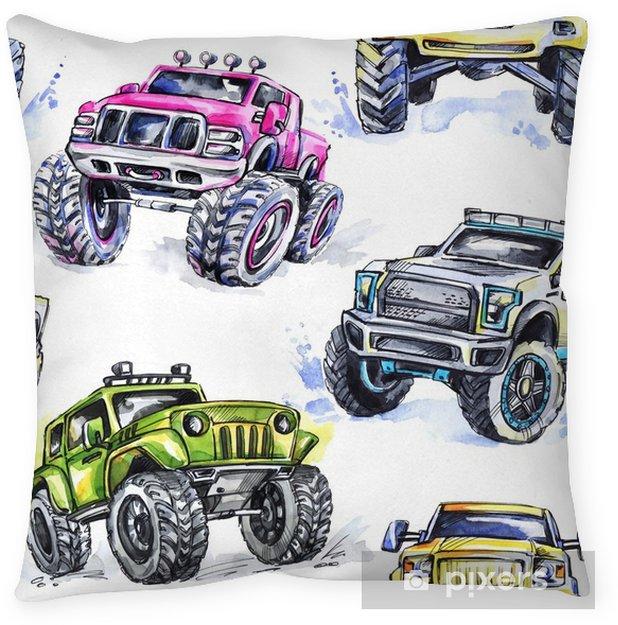 Decoratief sierkussen Aquarel naadloze patroon cartoon monster vrachtwagens. kleurrijke extreme sportenachtergrond. 4x4. voertuig suv off-road. lifestyle. de hobby van de man. vervoer. - Transport