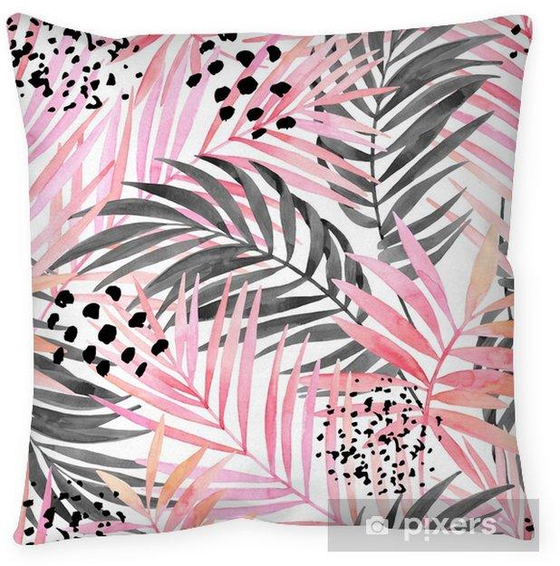 Decoratief sierkussen Aquarel roze gekleurd en grafisch palmblad schilderij. - Grafische Bronnen