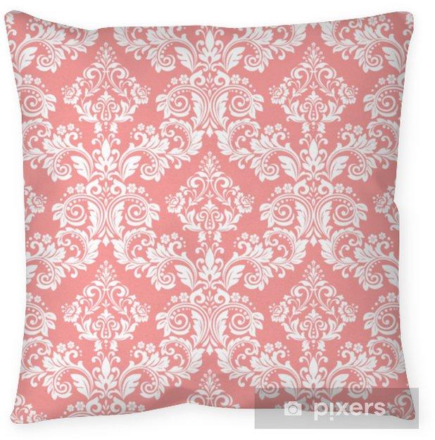 Decoratief sierkussen Behang in de stijl van barok. een naadloze vector achtergrond. wit en roze bloemenornament. grafisch patroon voor stof, behang, verpakking. sierlijke damast bloem ornament - Grafische Bronnen