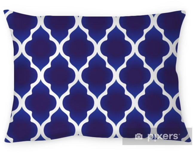 Decoratief sierkussen Blauw en wit islamitisch patroon - Grafische Bronnen