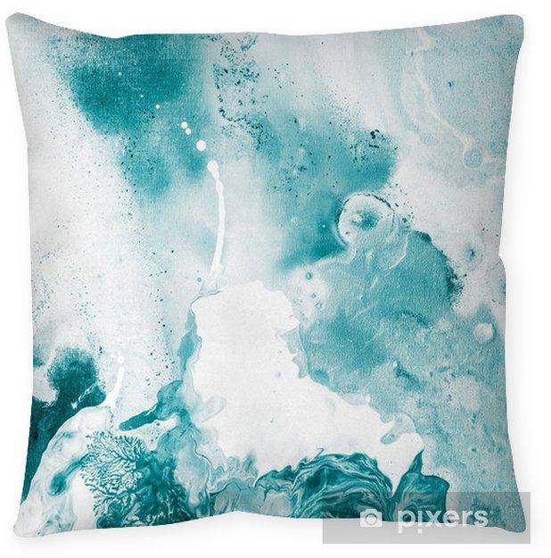 Decoratief sierkussen Blauwe marmeren textuur. - Grafische Bronnen