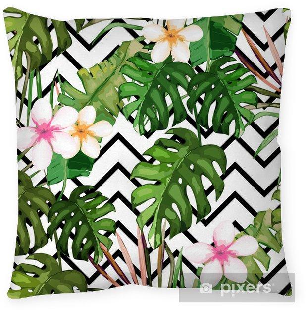 Decoratief sierkussen Exotische zomerprint. naadloze patroon met tropische bladeren en bloemen. Hawaï, Miami stijl Vector illustratie - Grafische Bronnen