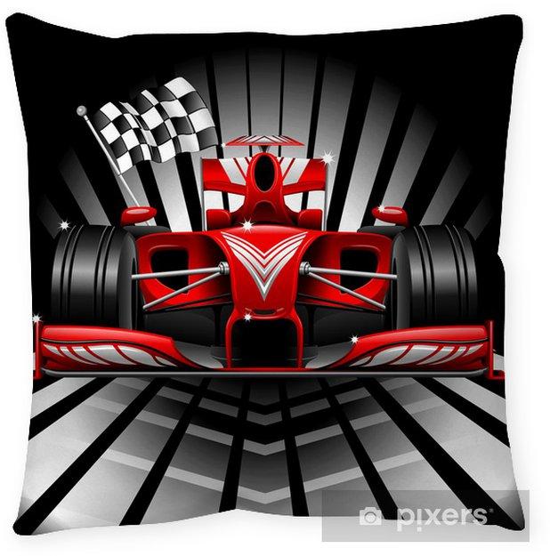 Decoratief sierkussen Formule 1 Rode Raceauto en Chequered Flag - Thema's