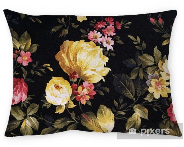 Decoratief sierkussen Gele pioenroos en roze daisy ontwerp op zwarte stof - Grafische Bronnen