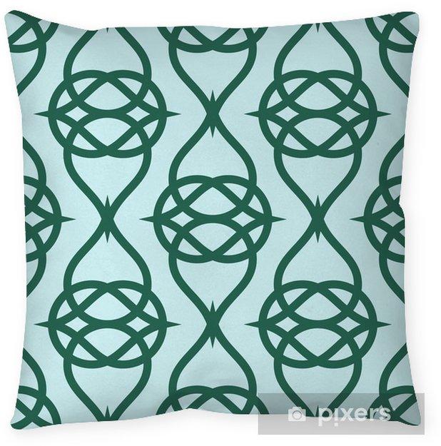 Decoratief sierkussen Geometrisch abstract patroon op groene achtergrond. Vector naadloze textuur. - Grafische Bronnen
