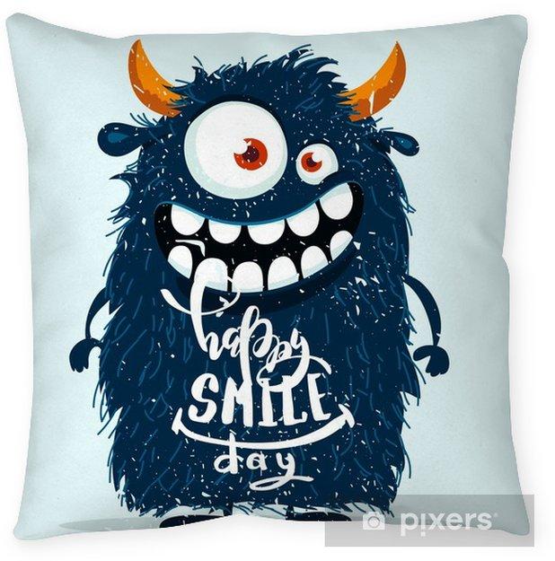 Decoratief sierkussen Grappige cartoon monster. gelukkige glimlach dag schattig ontwerp. vectorillustratie - Dieren