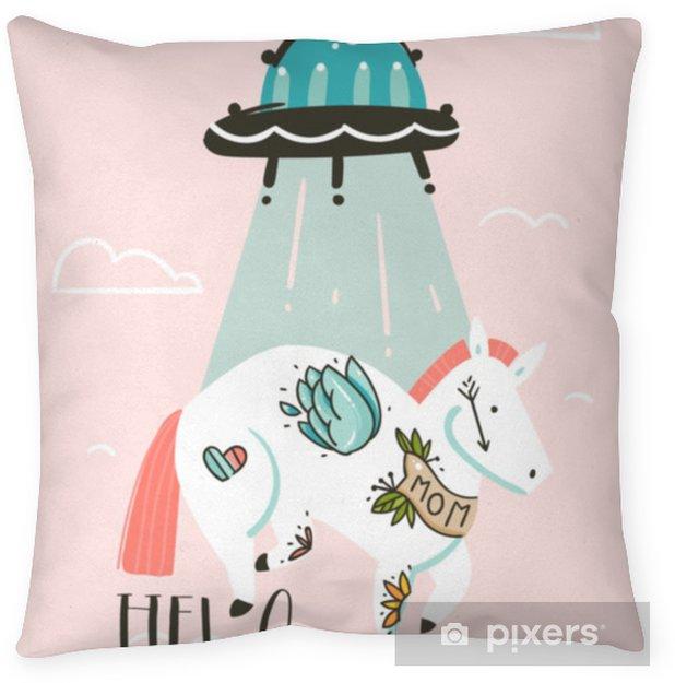Decoratief sierkussen Hand getrokken vector abstracte grafische creatieve cartoon illustraties kaart ontwerpsjabloon met eenvoudige eenhoorn astronaut karakter en buitenaardse ruimteschip geïsoleerd op roze pastel achtergrond - Grafische Bronnen