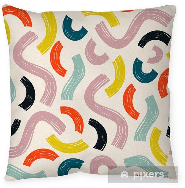 Decoratief sierkussen Handgetekende verschillende vormen. bochten en bogen. abstract eigentijds naadloos patroon. moderne trendy vectorillustratie. beige achtergrond - Grafische Bronnen