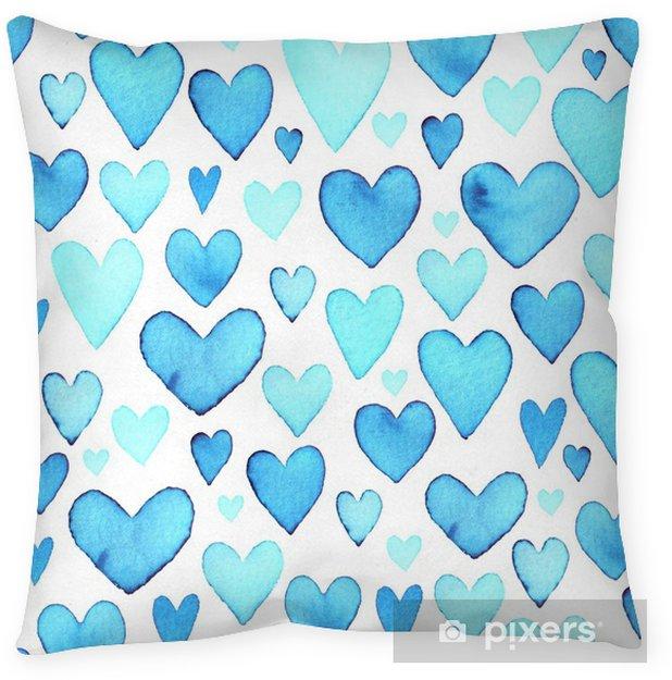 Decoratief sierkussen Hart naadloos patroon. blauw aquarel hearts.packaging ontwerp voor geschenkdozen. - Gevoelens, Emoties en Staten van Geest