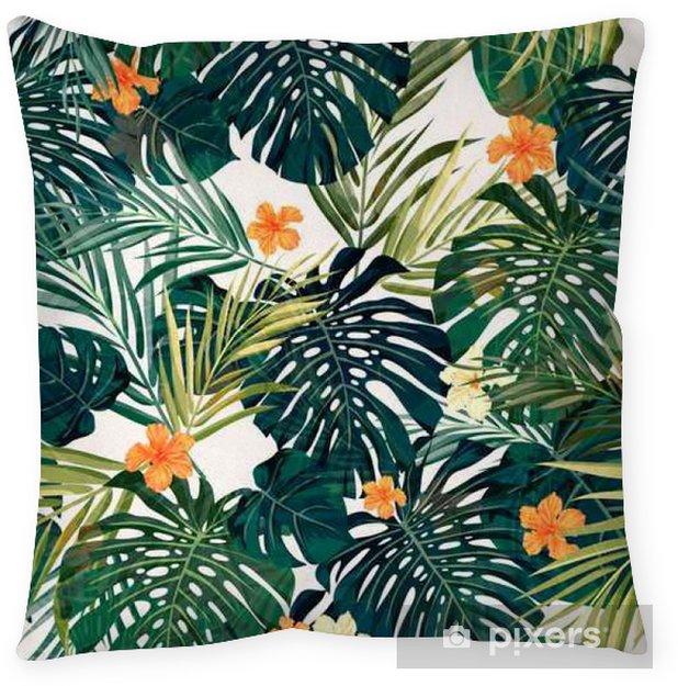 Decoratief sierkussen Heldere kleurrijke tropische naadloze achtergrond met bladeren en - Bloemen en Planten