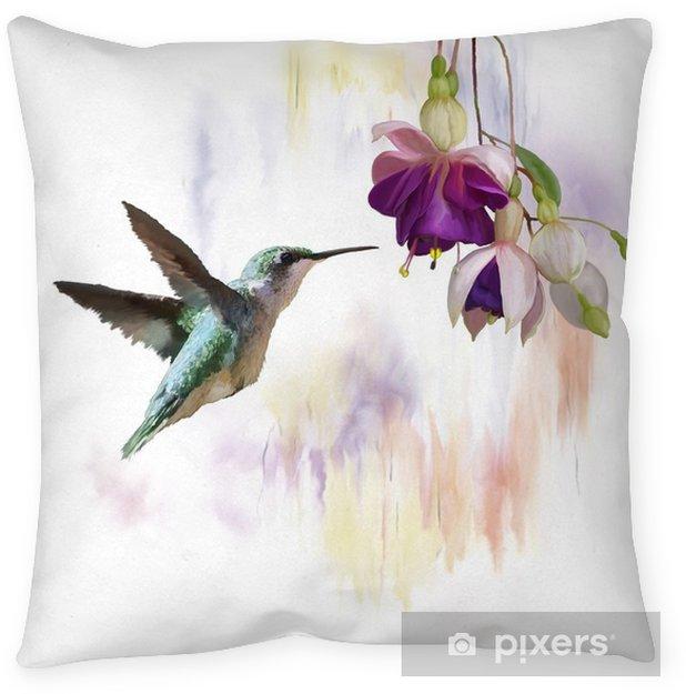 Decoratief sierkussen Kolibrie en bloemen aquarel - Dieren