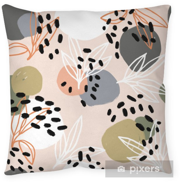 Decoratief sierkussen Moderne abstracte patrooninzameling. heldenpatroon met penseelstreken, vormen en bloemenelementen. trendy pastelkleuren. minimalistisch digitaal. stoffenprint, inpakpapier, poster, flyer, spandoekontwerp. - Hobby's en Vrije tijd