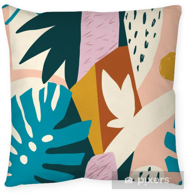 Decoratief sierkussen Moderne exotische jungle vruchten en planten illustratie in vector. - Bloemen en Planten