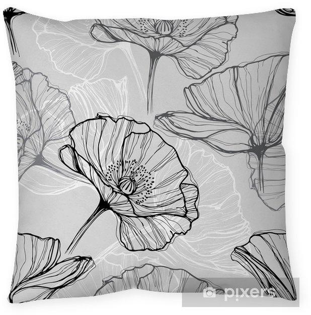 Decoratief sierkussen Monochrome naadloze patroon met klaprozen. Met de hand getekende bloemen achtergrond - Bloemen en planten