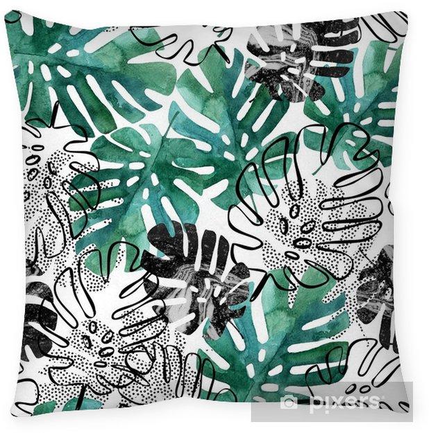 Decoratief sierkussen Monstera verlaat naadloos patroon. - Bloemen en Planten