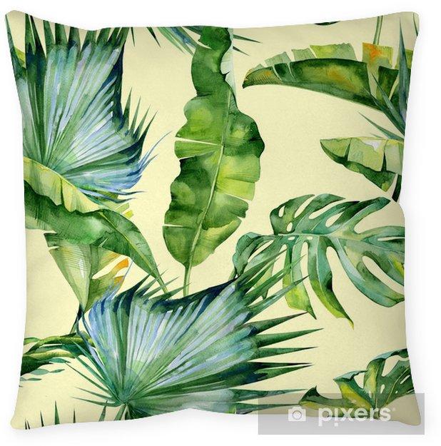Decoratief sierkussen Naadloze aquarel illustratie van tropische bladeren, dichte jungle. Patroon met tropisch zomermotief kan gebruikt worden als achtergrondtextuur, verpakkingspapier, textiel, behangontwerp. Banaanpalmbladeren - Bloemen en Planten
