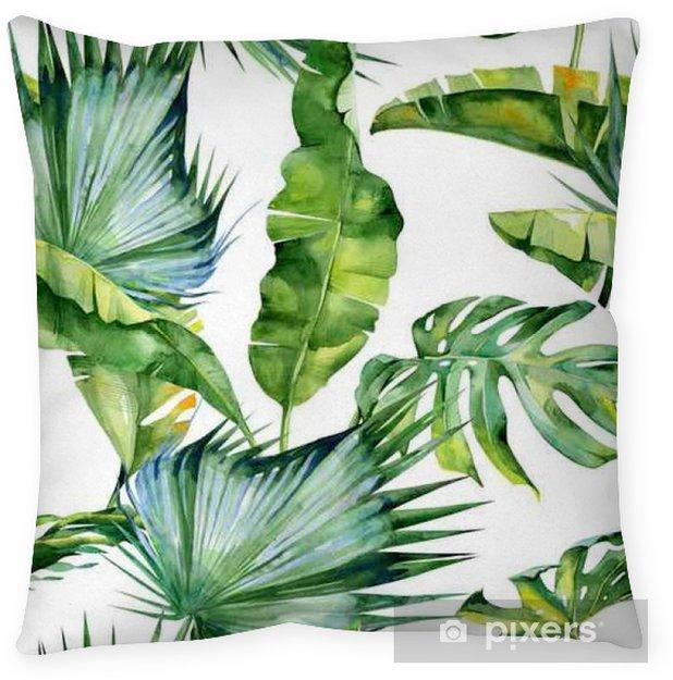 Decoratief sierkussen Naadloze aquarel illustratie van tropische bladeren, dichte jungle. Patroon met tropisch zomermotief kan gebruikt worden als achtergrondtextuur, verpakkingspapier, textiel, behangontwerp. - Planten en Bloemen