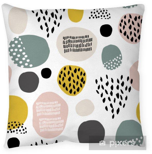 Decoratief sierkussen Naadloze fdashion patroon met hand getrokken vlekken, stippen, borstel texturen. creatieve moderne textuur. geweldig voor stof, textiel vectorillustratie - Grafische Bronnen