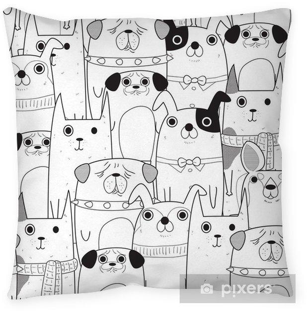 Decoratief sierkussen Naadloze honden patroon - Dieren