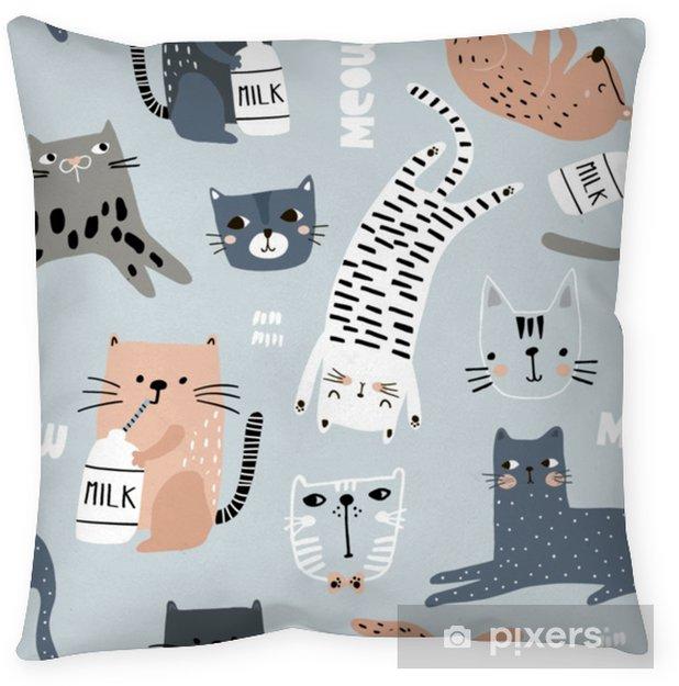 Decoratief sierkussen Naadloze patroon met verschillende grappige katten. creatieve kinderachtige textuur. geweldig voor stof, textiel vectorillustratie - Grafische Bronnen