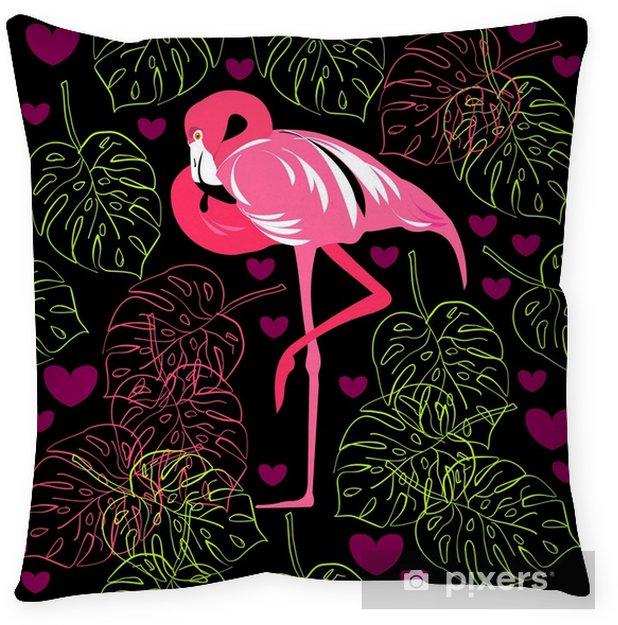 Decoratief sierkussen Naadloze patroon van flamingo, bladeren monstera, tropische bladeren van palmboom. vector achtergrond. - Grafische Bronnen